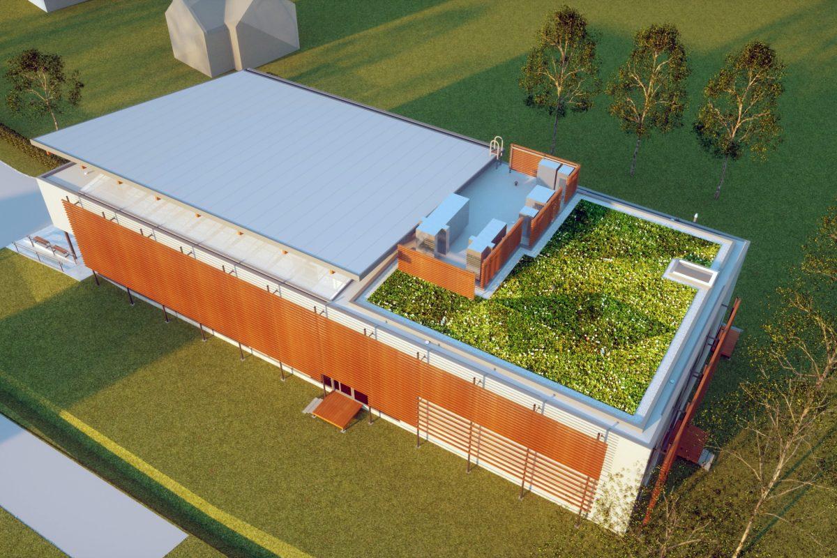 Góra dach zielony